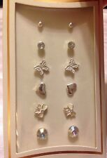Heart Butterfly Silver Stud Earring Set New Retro Vintage Inspired Target Bow