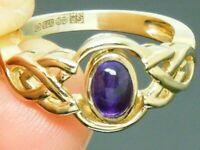9ct Gold  Celtic Hallmarked Swivel setting Ring size J