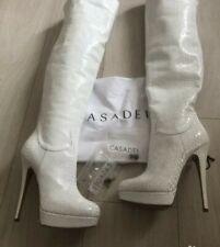 Casadei Boots Luxury White Python Print Platform Sexy High Heels Italy Sz 6 US