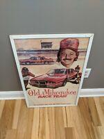 RARE OLD MILWAUKEE BEER SIGN TIM RICHMOND NASCAR BEER ART FRAMED POSTER 30x20
