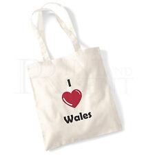 'I love (Heart) Wales' Cotton Canvas Reusable Shopping Tote Bag