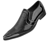 Men's Dress Shoes, Exotic Patent Loafers for Men, Dress Shoes with Metal Tip