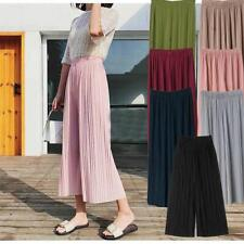 UK Casual Womens Pure High Waist Pleated Pants Wide Leg Palazzo Elastic Culottes