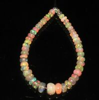 8.08 TCW NATURAL ETHIOPIAN WELO FIRE OPAL  ROUNDEL BEADS DEMI STRAND GIFT S6345