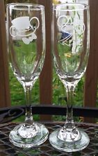 Etched Glass Mickey Mouse Top Hat  Bow Tie Minnie Mouse Veil Champagne Flutes