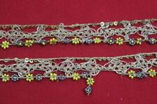 Antique Vintage Sari DOLL craft hand beaded border ribbon lace ZARDOSI ZARI 6