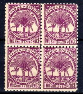 Samoa block of 4  with margin P11 2/6 MLH  1897-98 [S030821]