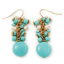 Turquoise Coloured And Simulated Pearl Bead Drop Earrings (Gold Plated Finish) -