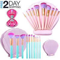 11 PCS Makeup Brushes Set Mermaid Shell Professional Kit Holder Powder Foundatio