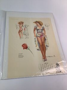 Vintage 1940's-50's PIN-UP Original calendar sexy girl art 14 of 20