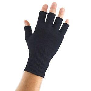 EDZ Merino Wool Fingerless Thermal Gloves Black