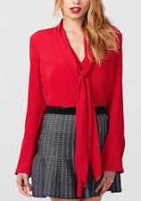 "BNWT *RACHEL ROY* LIPSTICK RED TIE V-NECK BELL SLEEVE ""ANNE"" BLOUSE TOP TUNIC ~M"
