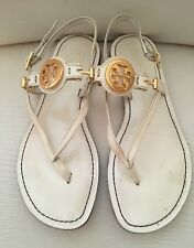 TORY BURCH Ali Sandal White Patent Leather with Gold Logo Sz 5 1/2