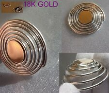 Solid Gold 18k & silver Two Tone MONEY CLIP HOLDER ring - unusual Gift