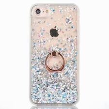 Liquid Glitter Sparkle Quicksand Soft TPU Bumper Case Ring Stand For iPhone 8 6s