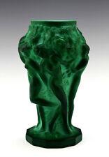 Art Deco Glass Jade Malachite Nude Ladies Vase 1930' H.Hoffmann