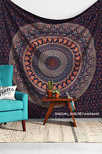 Indian Tapestrie Bedspread Throw Mandala Wall Hanging Ethnic Flower Queen Size