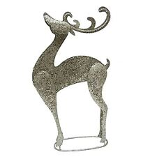 Metal Reindeer Glittered Champagne Silver Christmas Decoration