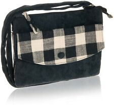 Black Natural Check Cross Over Bag - Fair Trade BNWT