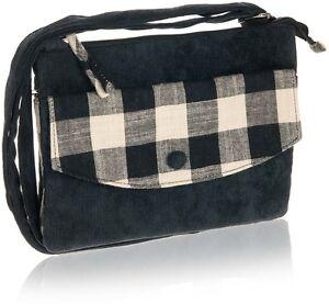 Black Bag Cross Over Strap Check Design Cotton Zip Closure - Fair Trade BNWT