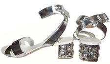 $890+ Miu Miu- Prada Silver Leather Crystals Flat Sandals Slide Shoe  Mules