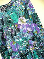 Vtg 90S Sz S M Floral Pansey Purple Low Waist Green Geo Mixed Dress Pretty Women