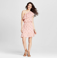 NEW Mossimo Women's One Shoulder Ruffle Dress - Blush - Size: XS