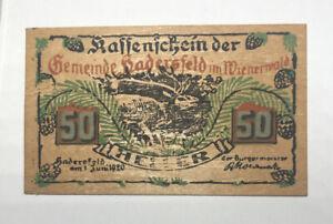 AUSTRIA - ÖSTERREICH WOOD NOTGELD 50 HELLER HADERSFELD WILDLIFE DEER 1920 aUNC