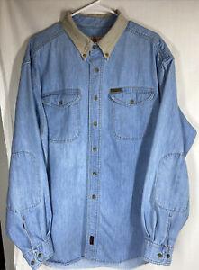 Woolrich Workwear Denim/Khaki Long Sleeve Button Up Shirt Elbow Patch Sz 2XL EUC