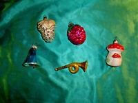 5 alter Christbaumschmuck Pilz Erdbeere Traube Horn Glocke Glas weiß silber rot