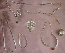 Lot de bijoux métal argenté - Parure collier pendentif flacon parfum - 6 pièces