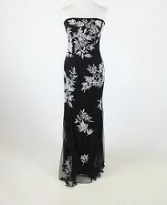 Black white floral beaded embroidered CACHE strapless full-length ball gown S