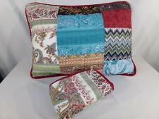 Set of 2 Patchwork Quilted Blue Red STANDARD PILLOW SHAM Paisley Cotton Cottage