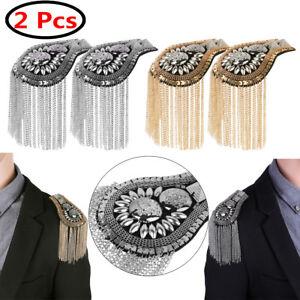 2Pcs Men Women Chain Tassel Shoulder Epaulette Brooches Knot Emblem Boards Badge