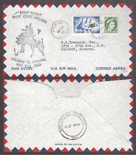 CANADA 1960 WEST COAST AIRLINES FIRST FLIGHT COVER CALGARY TO SPOKANE !!