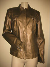 BEAUTIFUL!!  Anne Klein Bronze Brown Faux Leather Snap-Front Lined Jacket M