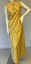 Vintage 1960's Silk Print Maxi Dress with Manderin Collar and Frogging Detail M