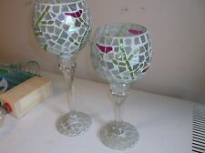 SET OF 2 LONG STEM CANDLE HOLDERS CRACKED GLASS DESIGN GREEN/WHITE REDBIRDS
