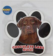 """Chocolate Labs Rule! 5"""" Waterproof Dog Paw Print Magnet"""