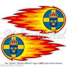 "Suède Suédoises fireball-fire-flaming 125mm (5 "") bumper-helmet Autocollants Stickers x2"