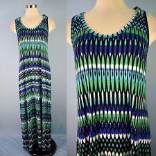 CALVIN KLIEN Stretch Soft Jersey Knit Maxi Tank Dress Geometric Blue Green 12