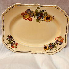 "STEUBENVILLE IVORY YELLOW 11"" RECTANGULER SERVING PLATTER MULTI-COLOR FLOWERS"