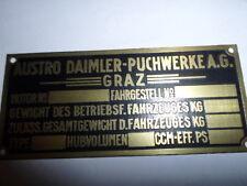 Typenschild Schild Austro Daimler Puch graz ID-plate brass messing targhetta sa