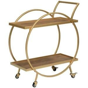 FirsTime FirsTime and Co. Gold And Brown Odessa Bar Cart