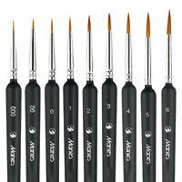 9X conjunto de pinceles pincel de pelo de comadreja detalle fino pintura al óleo