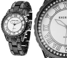 Damen Armbanduhr Silber/schwarz Crystalbesatz Metallarmband Excellanc 180/039