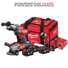 Milwaukee M18FPP4N-524B 18V Fuel 4 Piece Kit with Combi, Impact Driver & Grinder