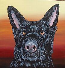 Black Shepherd  Dog Pet Art Original 12 x 12 Inch Canvas Painting-Carla Smale