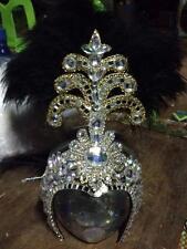 black Beautiful handmade Showgirl Vegas Cabaret Crown Tiara Crystal Headdress