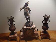 ancienne pendule marbre rose et régule
